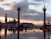 Venice, Italy, Sunset. Winged Lion and St Theodore Columns at Sunset, Venice Stock Images