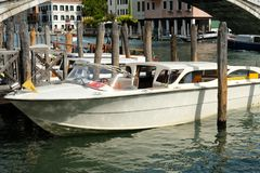 Venice Italy taxi boat. Travels in Europe royalty free stock photo
