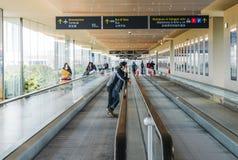 Long horizontal escalator at Marco Polo International Airport. Venice,Italy - 28th Mar 2018: Long horizontal escalator at Marco Polo International Airport Royalty Free Stock Photo