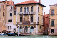 Venice, Italy. Tourist, tourism, old, architecture, city, gondola, Canal, water, house, window, brick, theater, window Royalty Free Stock Photography