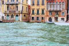 Venice, Italy. Tourist, tourism, old, architecture, city, gondola, Canal, water, house, window, brick, theater, window, boat Stock Images