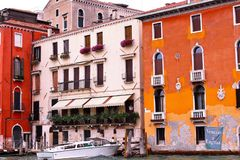 Venice, Italy. Tourist, tourism, old, architecture, city, house, brick, window, water, plants, shutters, tunnel, apartment Stock Photography