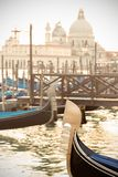 Gondola`s prow in venetian lagoon. Royalty Free Stock Photography
