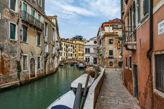 Venice, Italy. A typical canal in venice Royalty Free Stock Photo