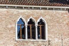 Venice ,Italy  ,typical italian brick  building with beautiful windows Royalty Free Stock Image