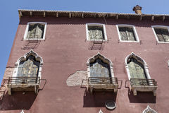 Venice ,Italy  ,typical italian building. Traditional  italian building with beautiful windows Stock Photo