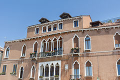 Venice ,Italy  ,typical italian building. Traditional orange italian building with beautiful windows Stock Images