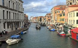 Venice, Italy. View of Canal Cannaregio and Fondamenta de Ca Labia from Guglie bridge Ponte delle Guglie royalty free stock image