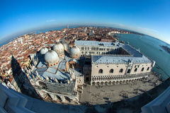 Venice, Italy. The view of the city from height of bird`s flight. In the center of the Cathedral, pedestrians. On the Stock Photography