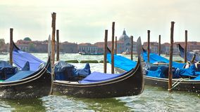 Venice, Italy. View of gondolas and San Giorgio church as background in Venice, Italy Venice, Italy Royalty Free Stock Photos