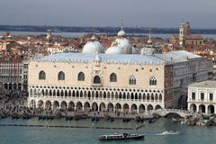 View of Palazzo Ducale from the top of the belltower of San Giorgio Maggiore church. royalty free stock photography