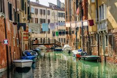 Venice, Italy, washes hanging over canal stock photography
