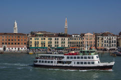 VENICE/ITALY Water taxis and buses in front Royalty Free Stock Image