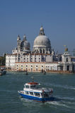 VENICE/ITALY  Water taxis and buses in front Royalty Free Stock Photo