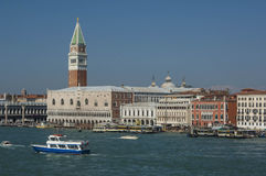 VENICE/ITALY Water taxis and buses in front Royalty Free Stock Photos