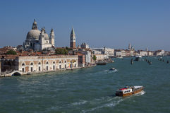 VENICE/ITALY Water taxis and buses in front Royalty Free Stock Photography