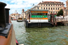 Venice, Italy. Waterbus stop S. Marcuola Casino in Grand Canal Stock Images
