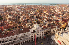 Venice Italy. Wide angle view from high tower. Royalty Free Stock Photo