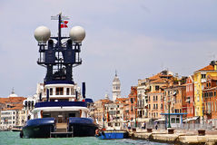 Venice, Italy - yacht moored in front of  the city on Grand Cana Royalty Free Stock Photo