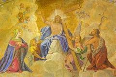 Venice - Jesus - portal of st. Mark cathedral stock image
