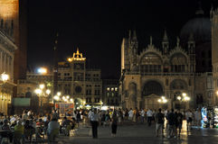 VENICE-JULY 22: St Mark's Square at night on July 22, 2012 in Venice, Italy. Stock Photos