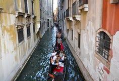 VENICE-JUNE 15 :平底船的船夫在威尼斯跑有小组的长平底船威尼斯式运河的游人2012年6月15日,意大利。 免版税图库摄影