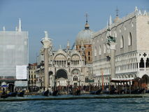 Venice ladscape. St. Mark's Square in Venice from the lagoon royalty free stock photography