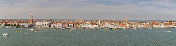 Venice lagoon with cityscape aerial panorama, Italy. Stock Photo
