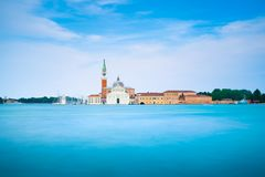 Venice lagoon, San Giorgio church. Italy. Long exposure stock photo
