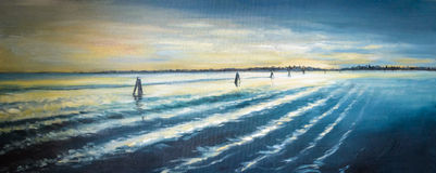 Venice lagoon. At sunset painted by oil on a canvas royalty free stock image