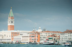 Venice from the laguna. A view of Venice with St Mark Campanile from the laguna Stock Images