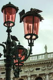 Venice Lamp Post. These beautiful ornamental centuries old style lamp posts can be found throughout St. Mark's square in Venice.  They have unique coloured glass Royalty Free Stock Photography