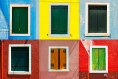 Venice landmark, Burano colorful house windows collection, Italy Royalty Free Stock Photography