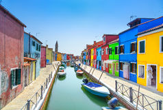 Venice landmark, Burano island canal, colorful houses and boats, Italy Royalty Free Stock Photo