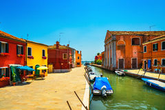 Venice landmark, Burano island canal, colorful houses and boats, Royalty Free Stock Photography