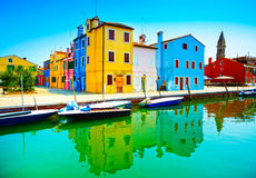 Venice landmark, Burano island canal, colorful houses, church an Royalty Free Stock Images