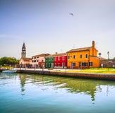 Venice landmark, Burano island canal, colorful houses, church an Royalty Free Stock Photo