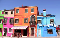 Venice landmark, Burano island canal, colorful houses, Italy Stock Images