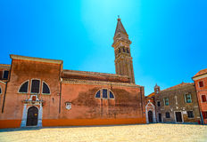 Venice landmark, Burano island church and campanile tower, Italy Royalty Free Stock Image