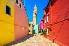 Venice landmark, Burano island colorful houses and campanile tow Royalty Free Stock Image