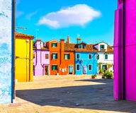 Venice landmark, Burano island square and colorful houses, Italy. Europe Royalty Free Stock Photography