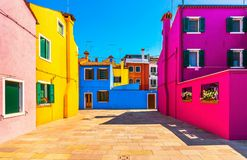 Venice landmark, Burano island square and colorful houses, Italy. Europe Stock Images