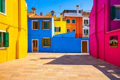 Venice landmark, Burano island square and colorful houses, Italy Stock Images