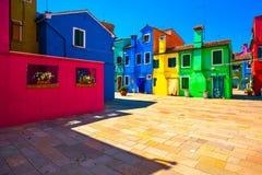 Venice landmark, Burano island square and colorful houses, Italy Royalty Free Stock Photo