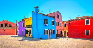 Venice landmark, Burano island square and colorful houses, Italy. Europe Stock Photo