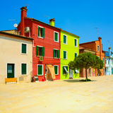 Venice landmark, Burano island street, colorful houses, Italy royalty free stock photography