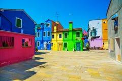 Venice landmark, Burano island street, colorful houses, Italy Stock Image