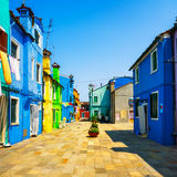 Venice landmark, Burano island street, colorful houses, Italy royalty free stock photo