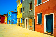 Venice landmark, Burano island street, colorful houses, Italy Royalty Free Stock Images