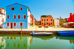 Venice landmark, Burano old market square, colorful houses, Ital Royalty Free Stock Photo